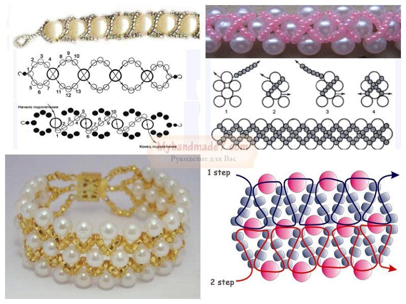 Простые браслеты из бисера. Легкие схемы плетения 25