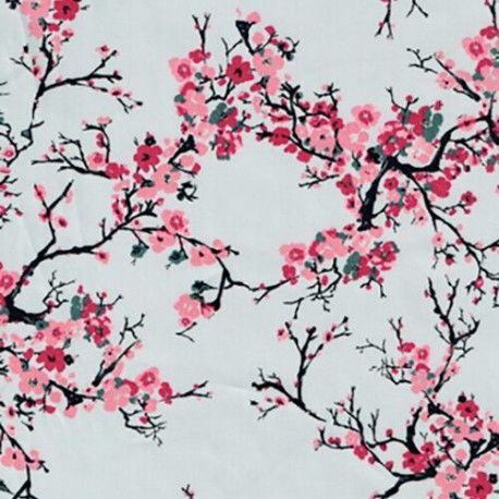 Japanese Cherry Blossom Tree Branches Springtime Cotton Satin Dress Fabric April May Floral Prints Cherry Blossom Tree Fabric Patterns Design