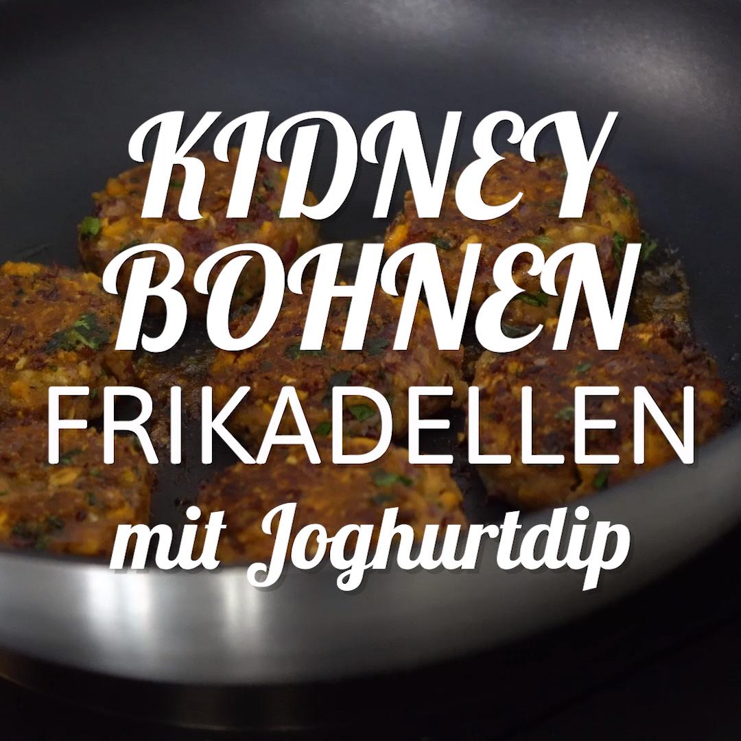 Kidneybohnen-Frikadellen mit Joghurtdip #veganerezeptemittag
