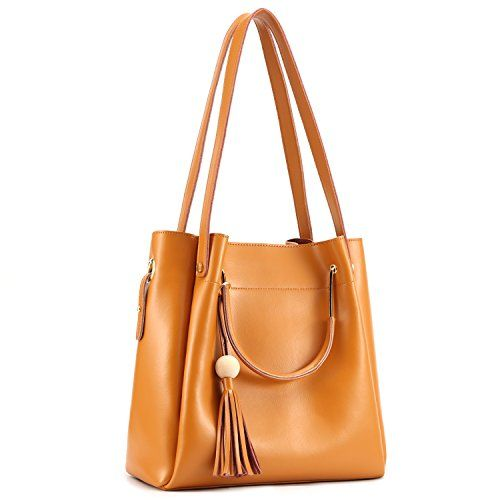 58.99 - Kattee Women s Genuine Leather Hobo Tote Shoulder Bag with Tassel 50741e325bf12