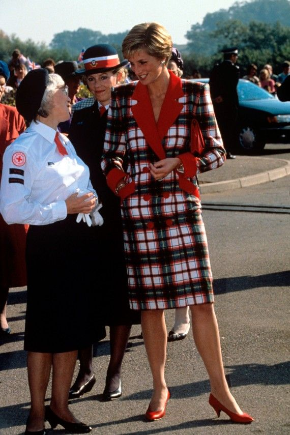 Bold, bright and beautiful, Diana dared to wear a checked, double-breasted dress in Devon in 1990.