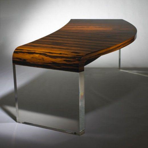vladimir kagan zebra wood and acrylic desk c1975 tabled rh pinterest com