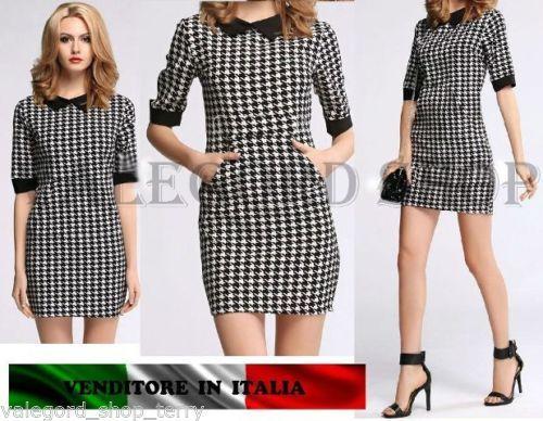 ca7822ac909d Mini-Abito-TASCA-vintage-COLLETTO-retro-PIED-de-POULE-anni-50-vestito-donna-moda