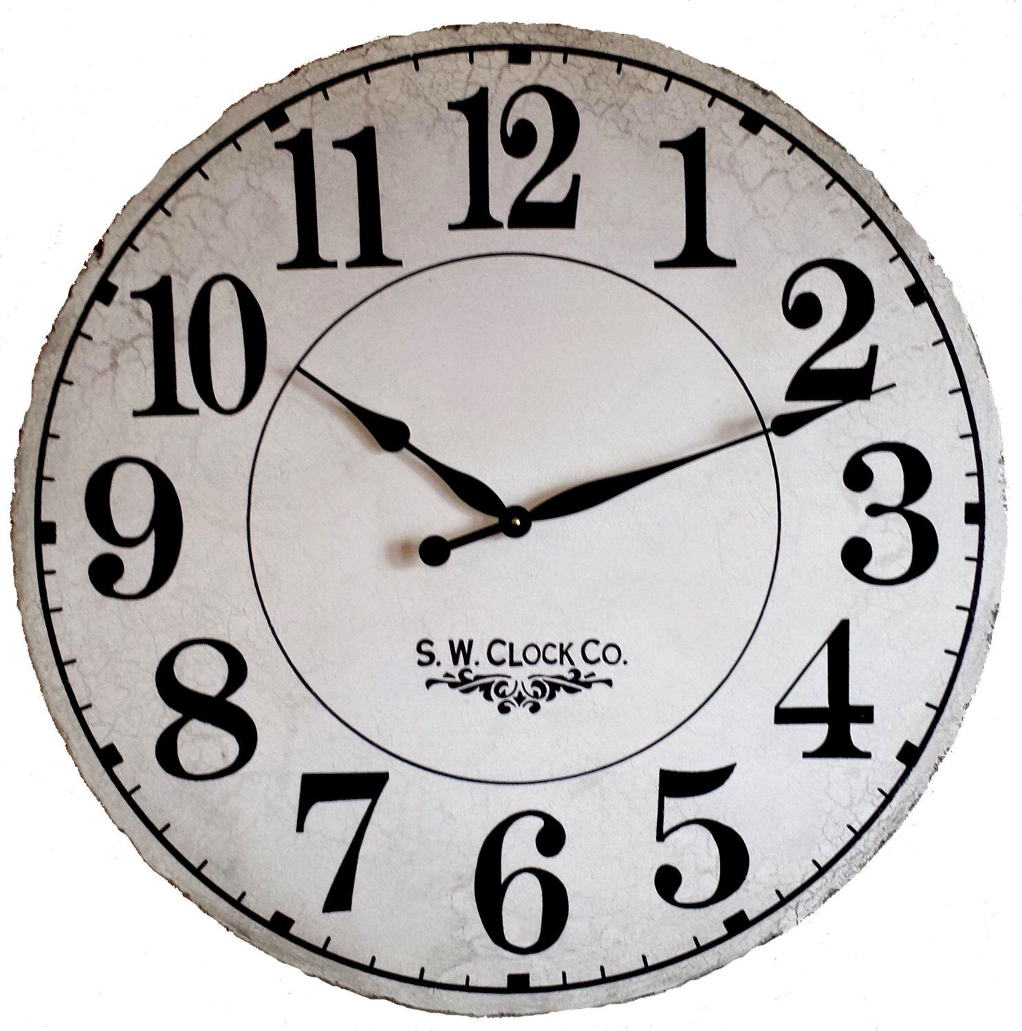 24 inch french grand gallery large wall clock antique style big 24 inch french grand gallery large wall clock antique style big cream crackle off white amipublicfo Choice Image