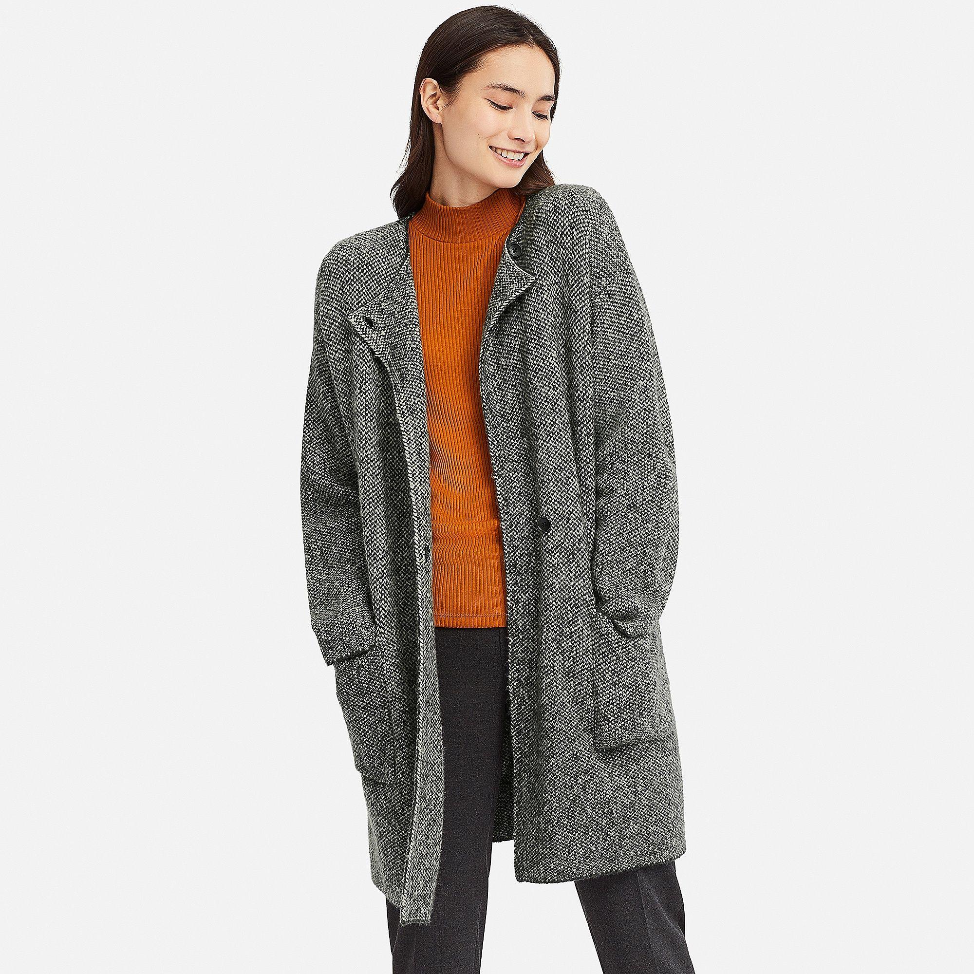 Women Tweed Knitted Coat Uniqlo Uk Knitted Coat Coats Jackets Women Stylish Outerwear [ 2000 x 2000 Pixel ]