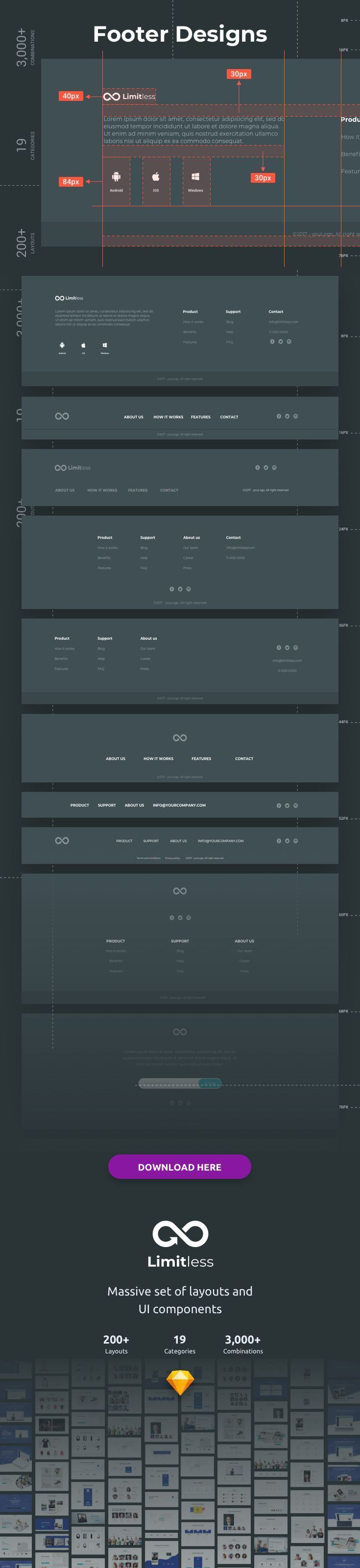Limitless Web Design Projects Web Layout Design Footer Design