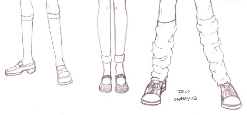 Sketch examples of shoes and stockings for traditional