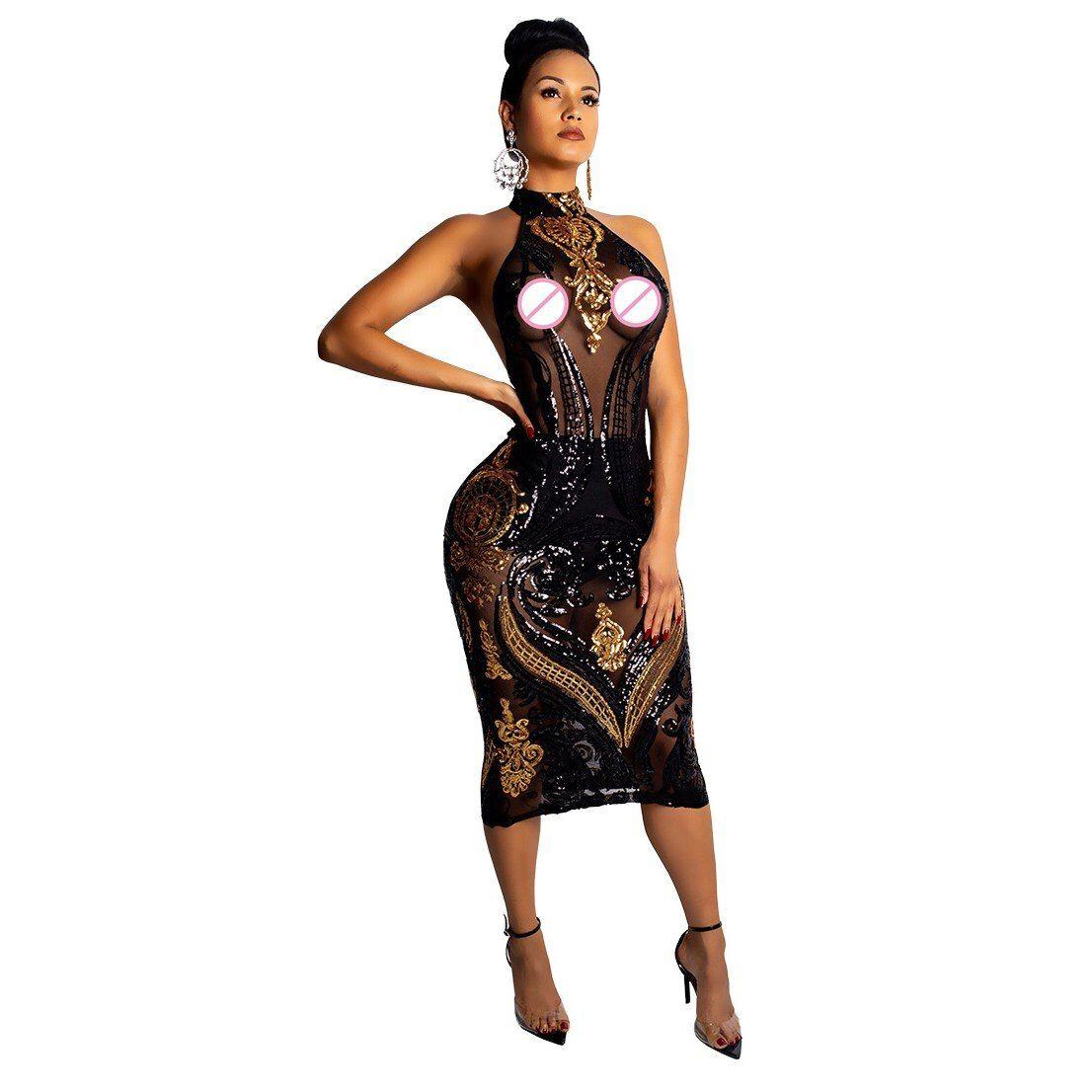 Summer Sleeveless Midi Bodycon Dress Backless Sexy Women