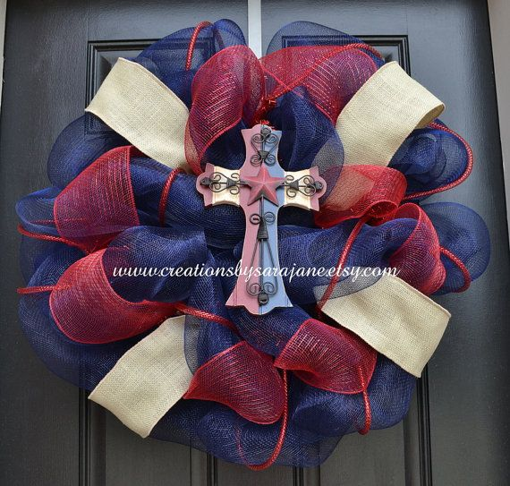 Patriotic Cross Wreath - Rustic/Vintage style by CreationsbySaraJane on www.creationsbysarajane.etsy.com