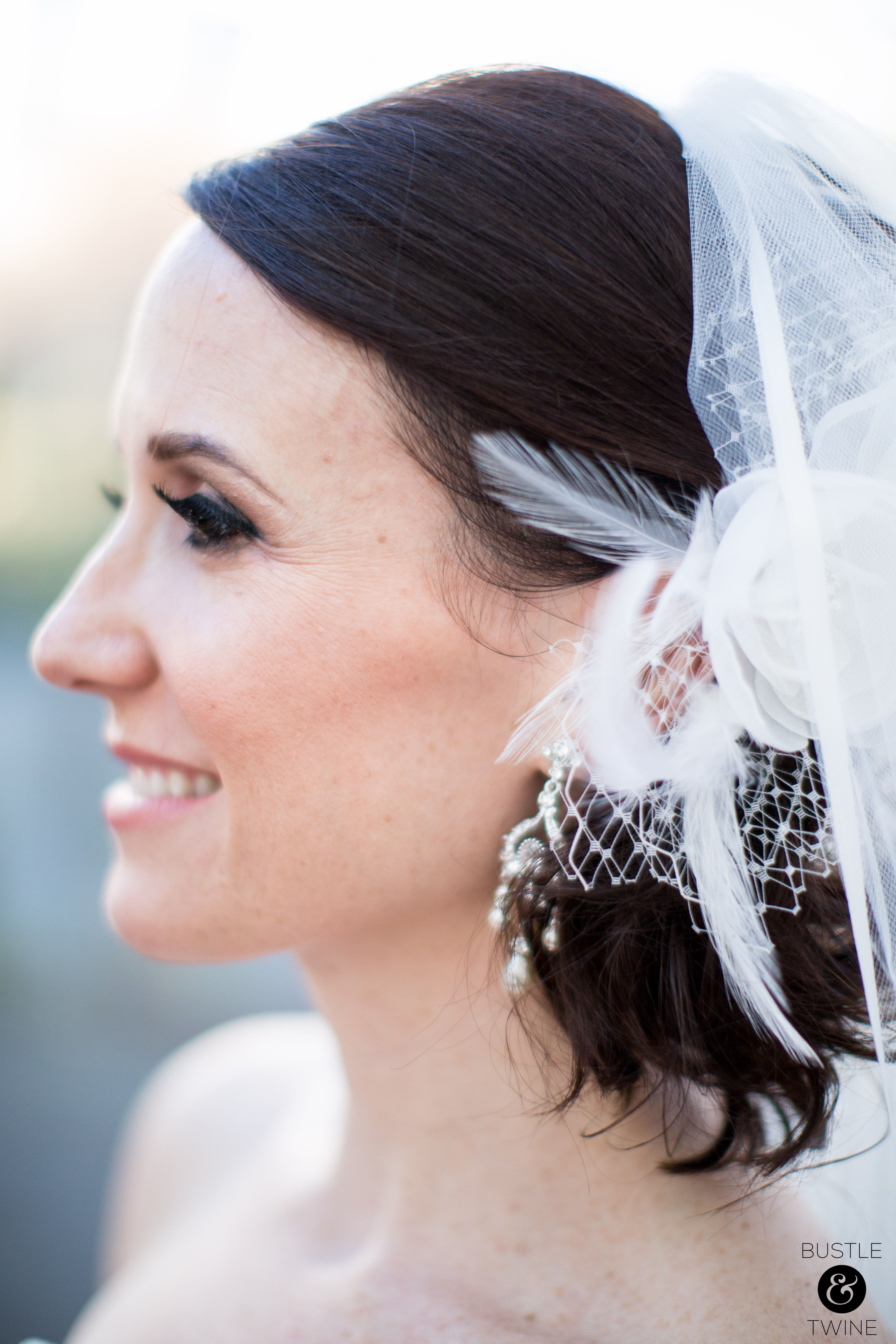 flower and feather hair accessory -wedding at terra gallery