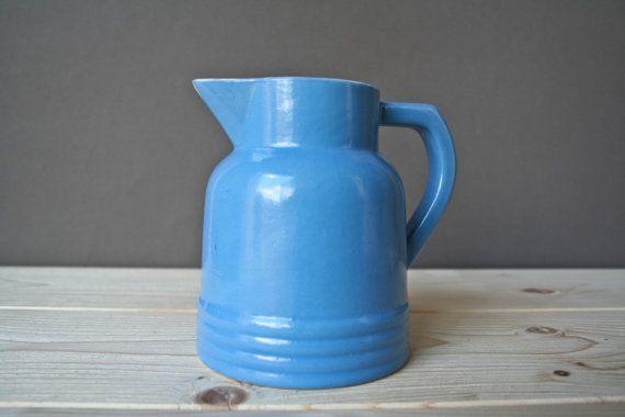 vintage french blue milk pitcher - 50's