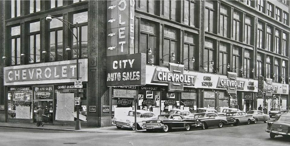 City Auto Sales Chevrolet Michigan Avenue Chicago 1958