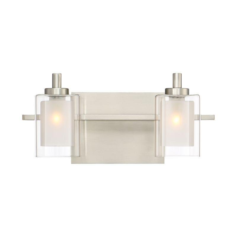 "Bathroom Vanity Lights Clear Glass quoizel klt8602led kolt 2 light 13"" wide bathroom vanity lights"