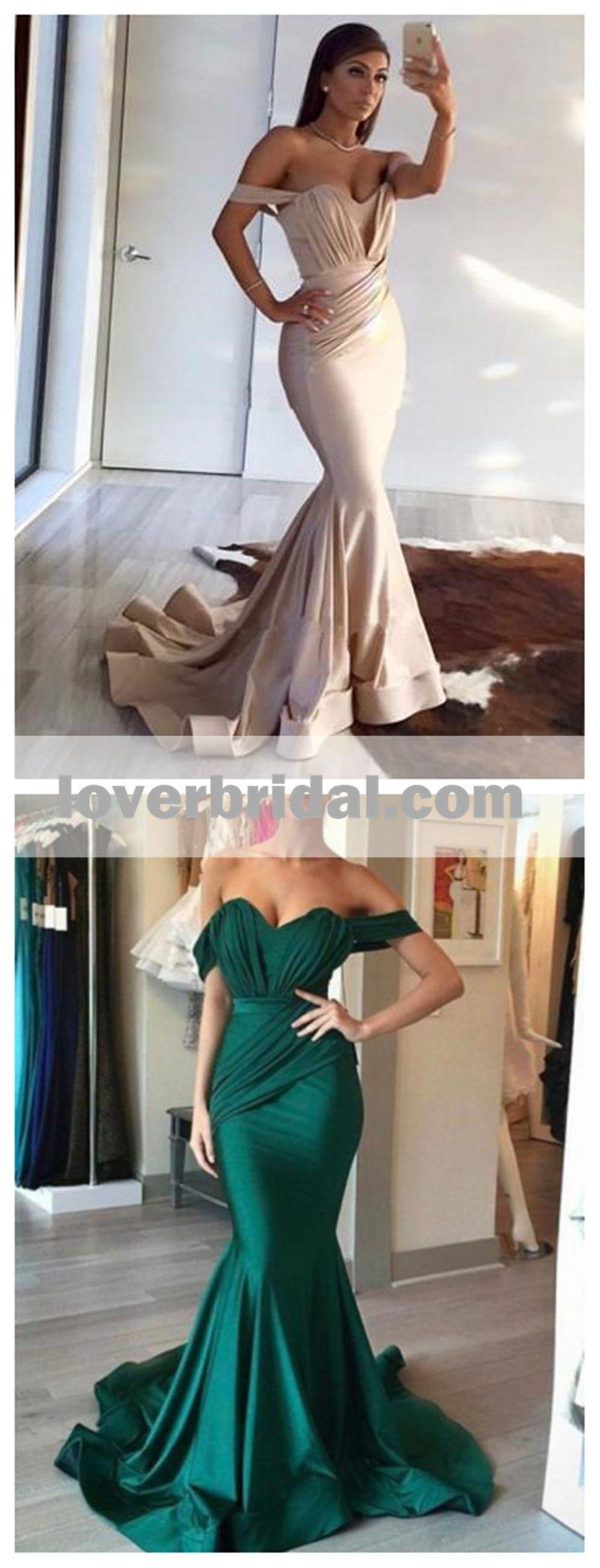 Off shoulder emerald green mermaid long evening prom dresses
