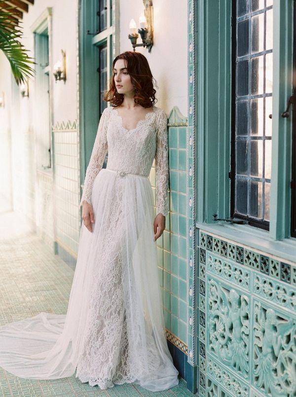 71051ed0f6 Lace Sheath Wedding Dress with a Tulle Over Skirt on  knotsvilla via   aislesociety