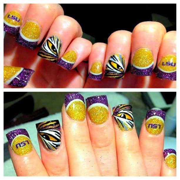 LSU nail art #GeauxTigers | Inspiring Ideas | Pinterest | Makeup ...