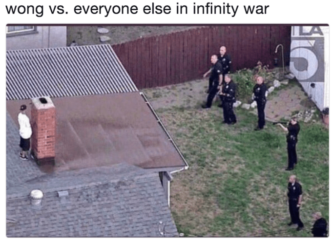 Wong S Infinity War Exit Is Our New Favorite Avengers Meme Funny Pictures Really Funny Memes Funny Relatable Memes