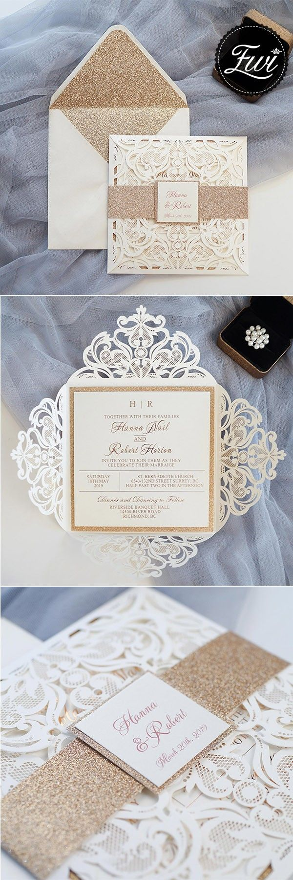 luxury rose gold laser cut wedding invites with glittery bottom card ...