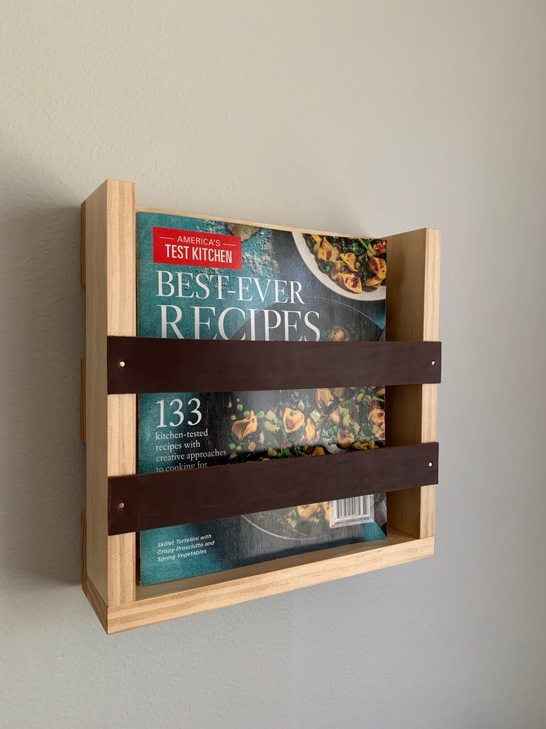 Magazine Rack With Leather Accents Wall Mounted Magazine Etsy In 2020 Accent Wall Magazine Rack Magazine Holders