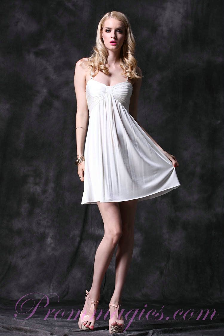 Mini white wedding dress  Spaghetti Straps Beading Chiffon Mini White Club Dresses from