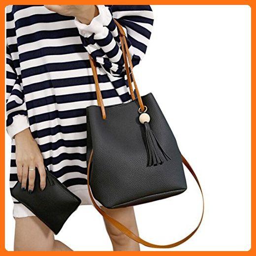 6b32ccd1b8b0 Egmy 2 piece Set Womens Girl's Shoulder Bag Bucket Handbag Leather ...