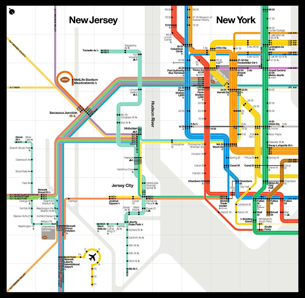 Subway Map Nyc Nj.Updated Vignelli Subway Map Colorfully Connects Nyc Nj