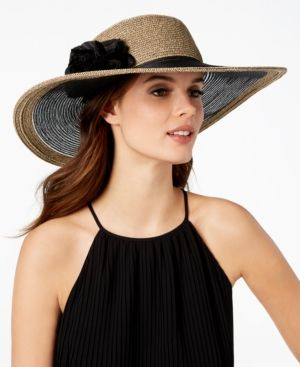 a879029d2ed0d2 Nine West Flower Super-Floppy Hat - Black   Products   Hats, Nine ...