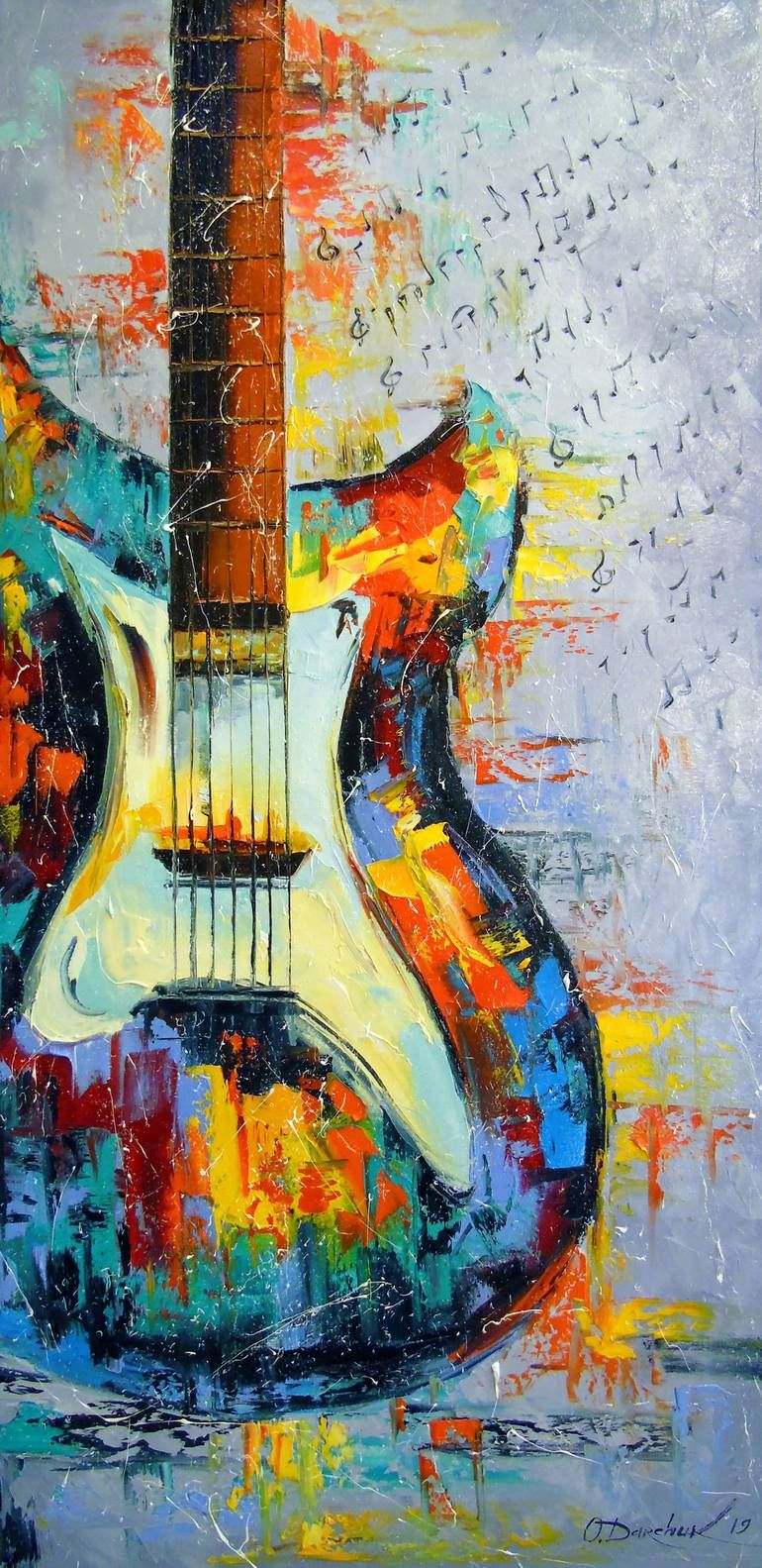Original Music Painting by Olha Darchuk | Impressionism Art on Canvas | Guitar