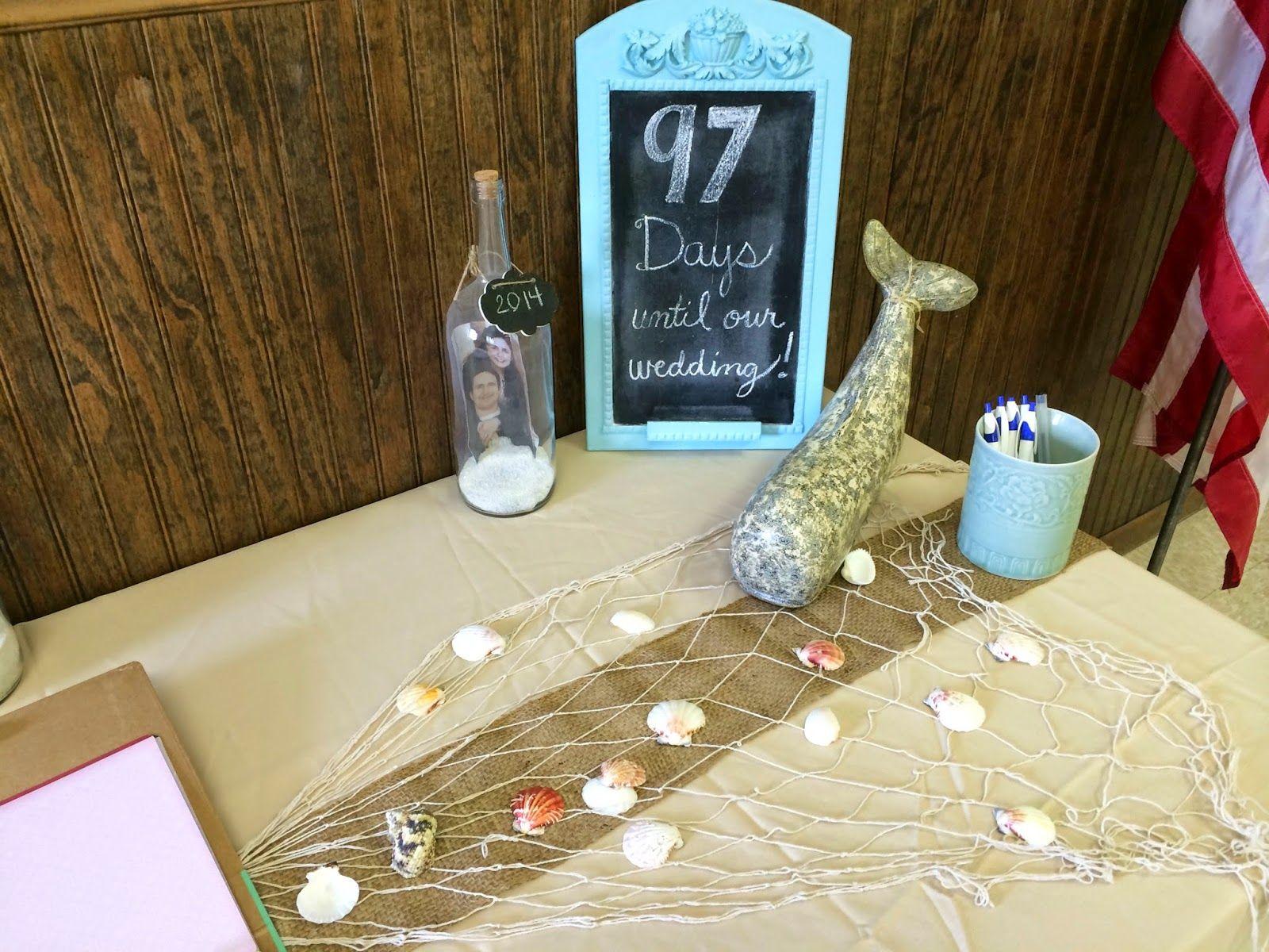 wedding shower centerpieces beach theme%0A How to Throw A Beach Themed Wedding Shower  Details on DIY decor  food