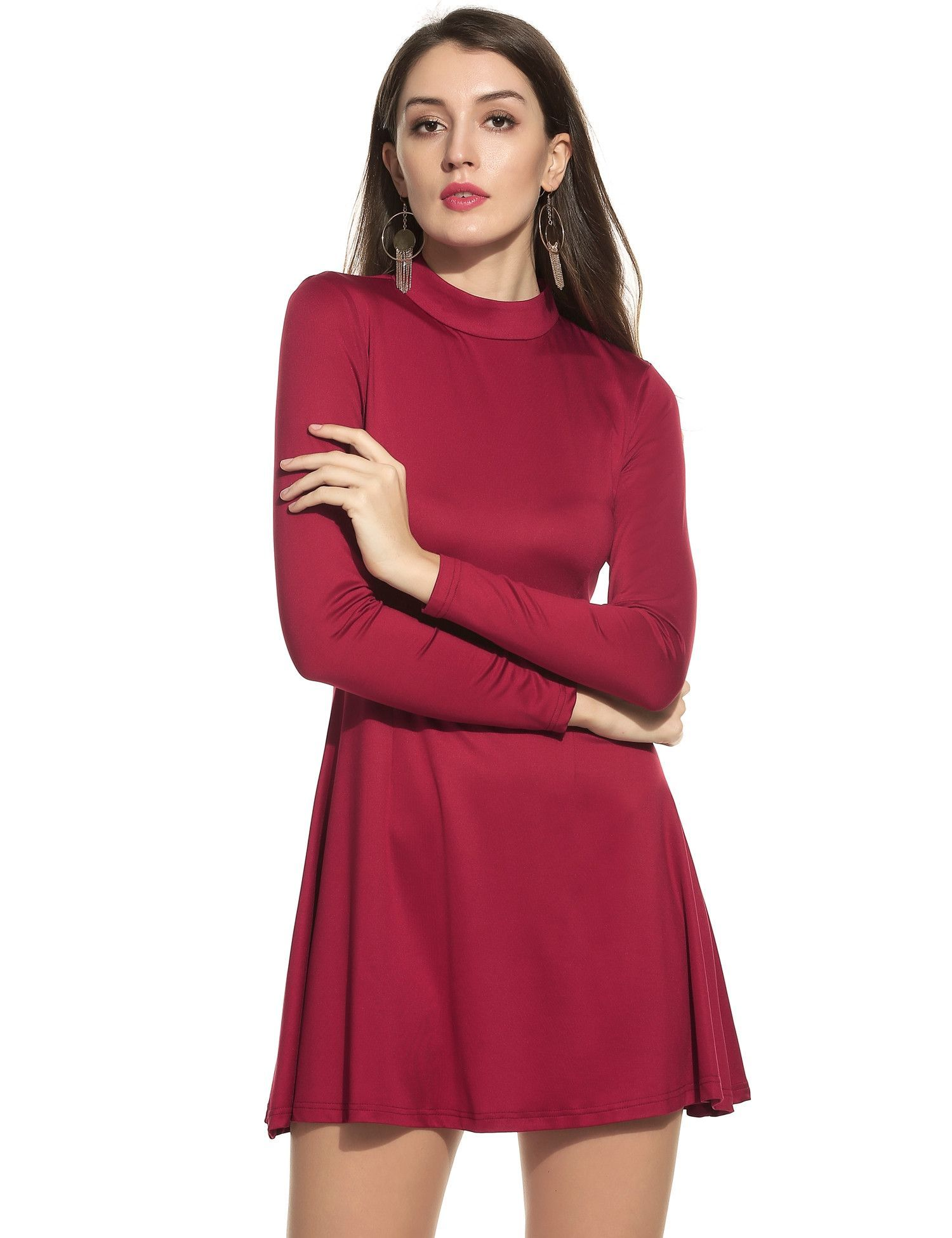 Black women fashion stand collar long sleeve backless solid aline