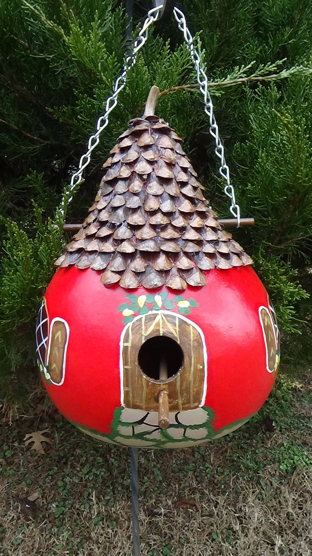 Bold Red Pinecone Petal Roofed English Cottage Birdhouse
