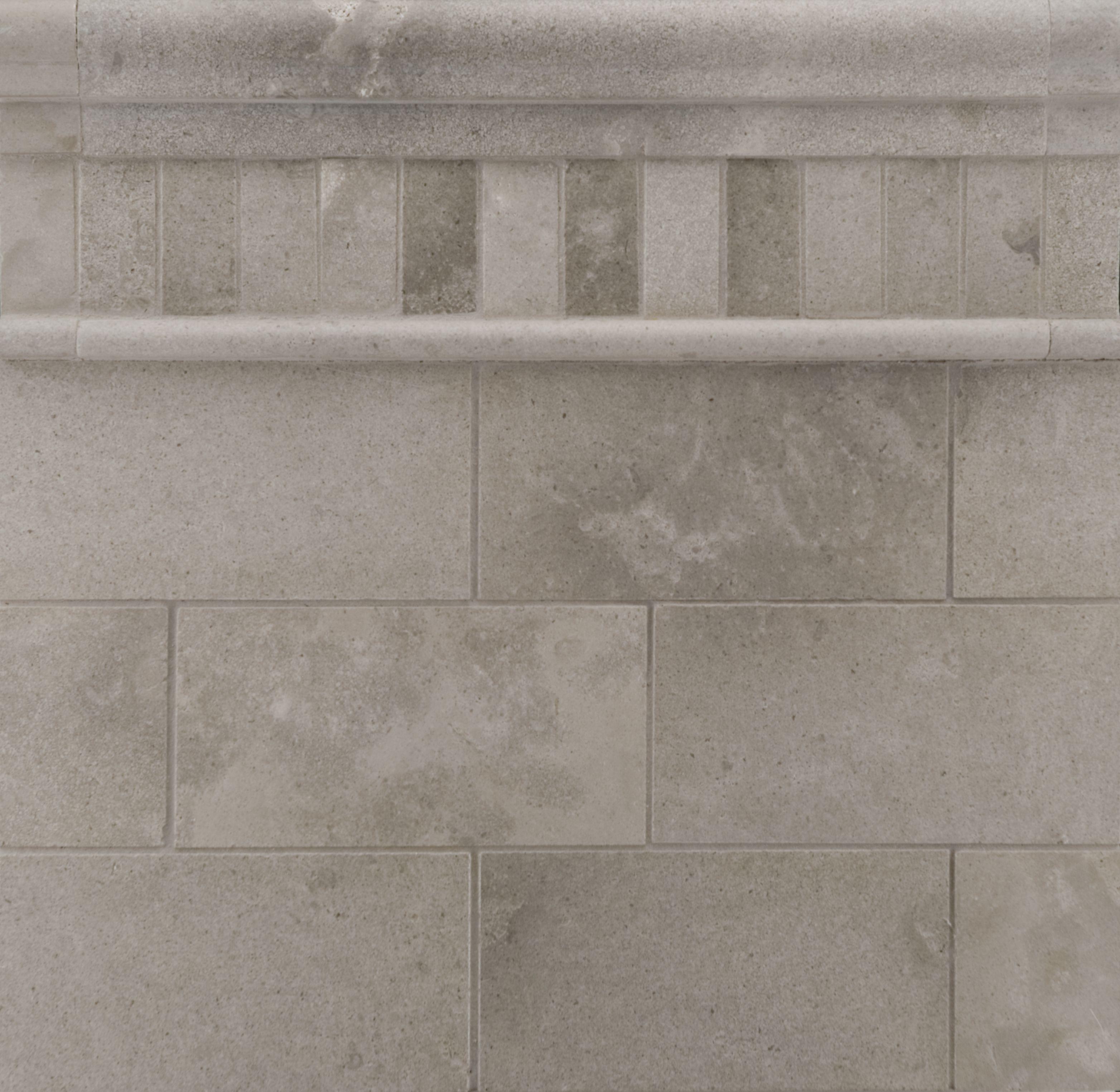 "Ann Sacks Mosaic Bathroom Tile: ANN SACKS Pewter 3"" X 6"" Limestone Field, 1"" X 2"" Offset"