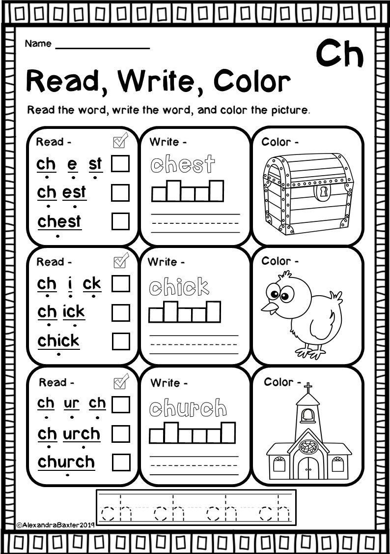 Ch Worksheets For Kindergarten Ch Digraph Worksheets In 2020 Phonics Worksheets Digraphs Worksheets Teaching Child To Read