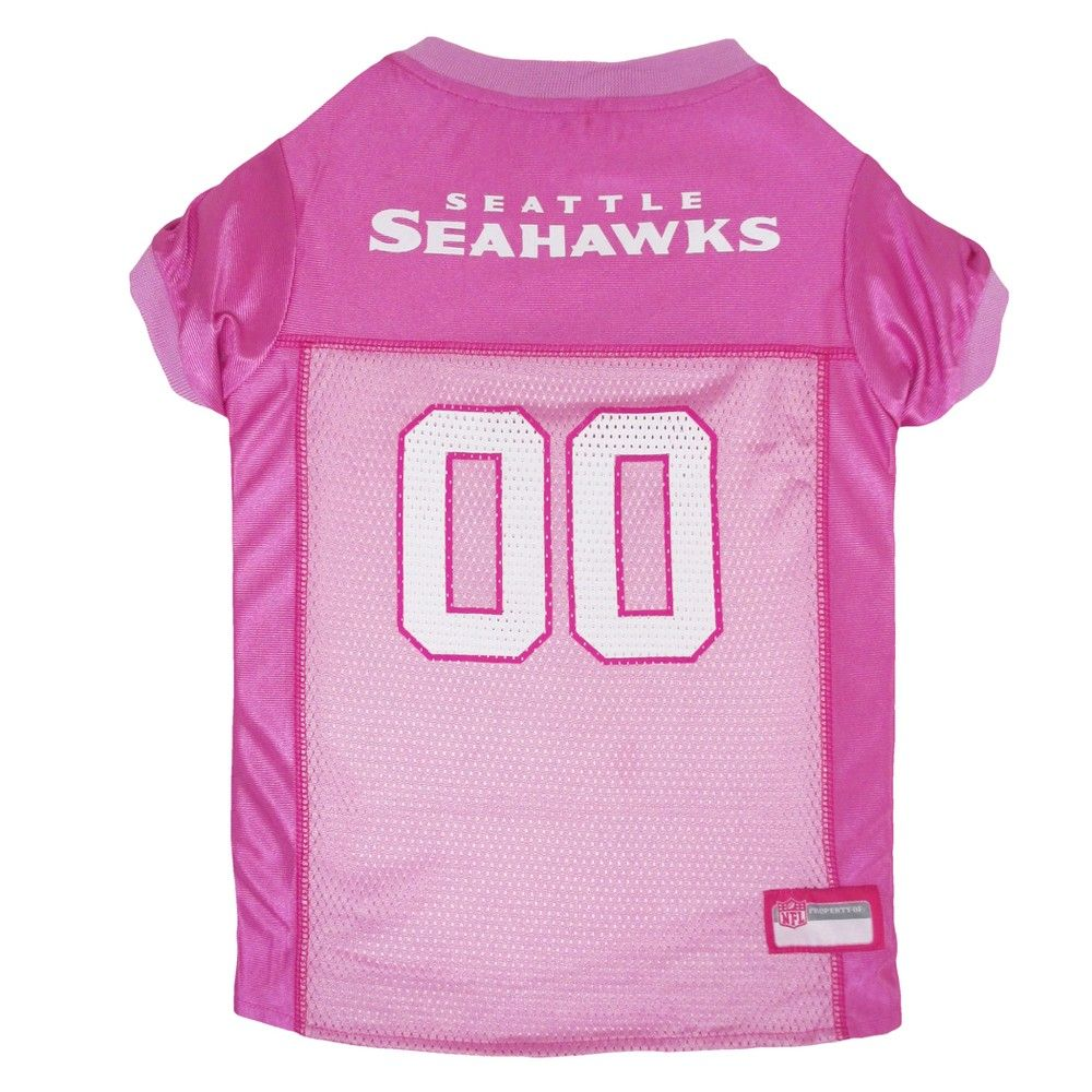 6008460b3 Seattle Seahawks Pets First Pink Pet Football Jersey - Pink XS, Multicolored