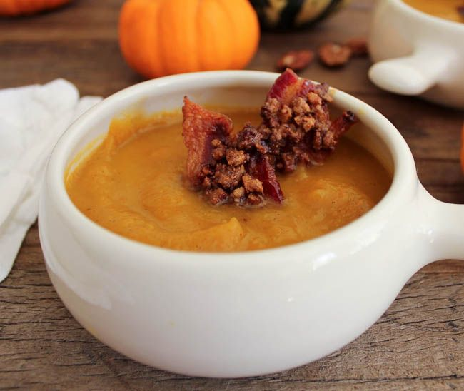 Harvest Pumpkin Soup with Candied Bacon