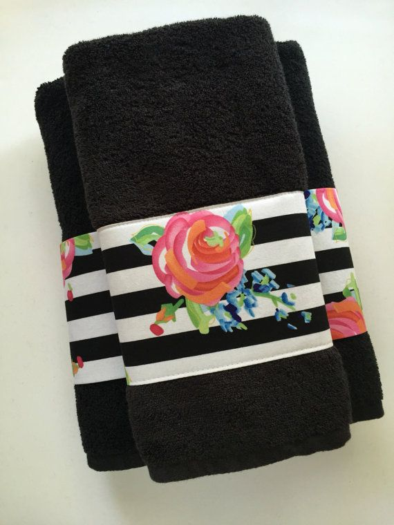 Black Towel Hand Towels Bath Towels Custom Towel Black Stripe