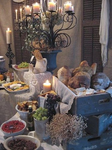 buffet table/like the stacked/wine crates. pre-cut the bread