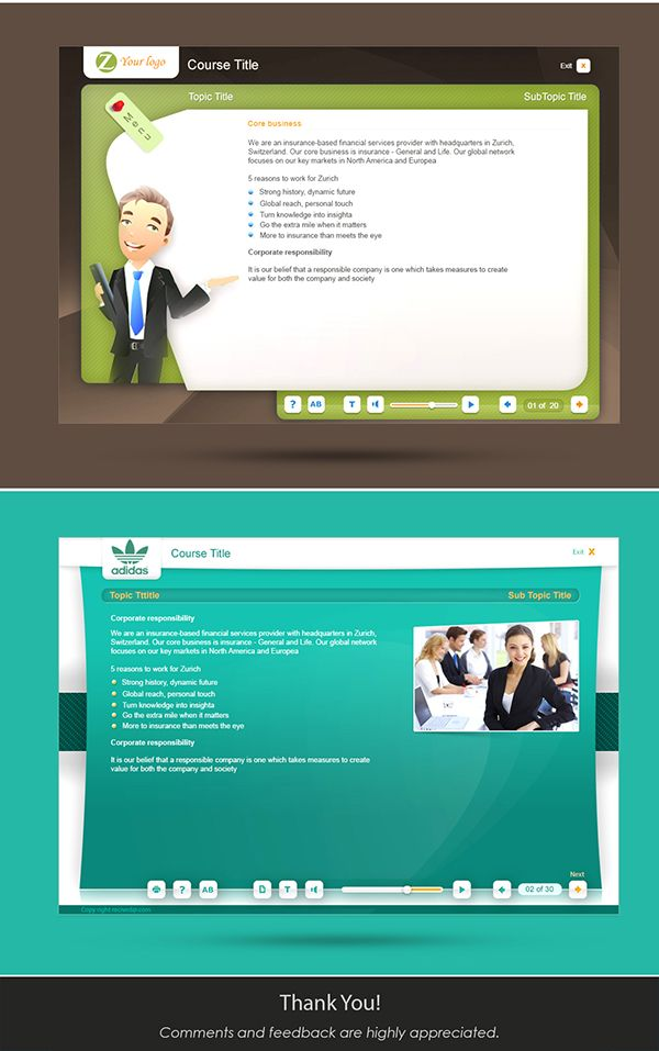 User Interface For Elearning Courses On Behance