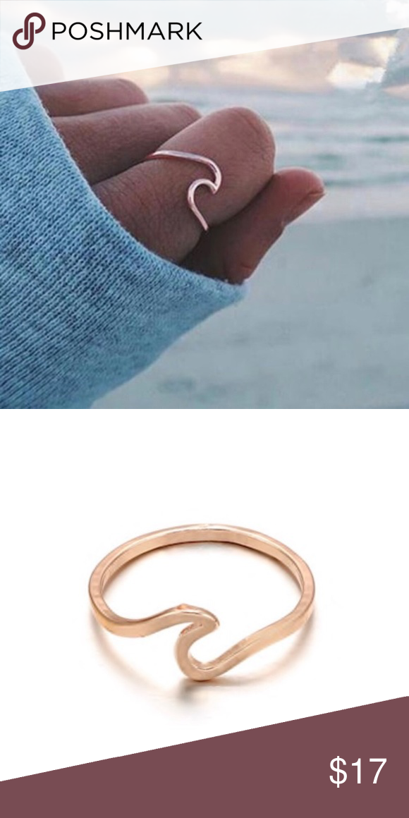 Fashion Metal Gold Wave Cuff Ring Delicate Ocean Jewelry