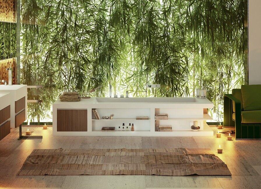 Rückwand Badezimmer ~ Eine rückwand mit grünen hintergrund im badezimmer design