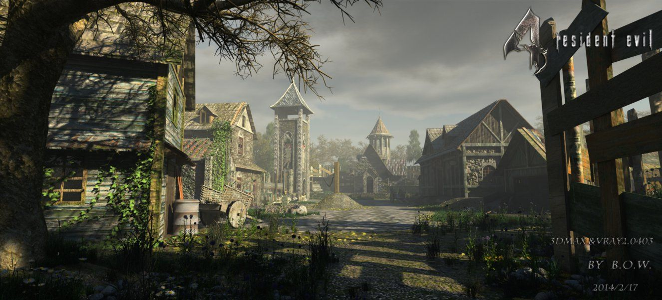 I Use 3dmax Vray Remake Resident Evil4 The Village New Sun New