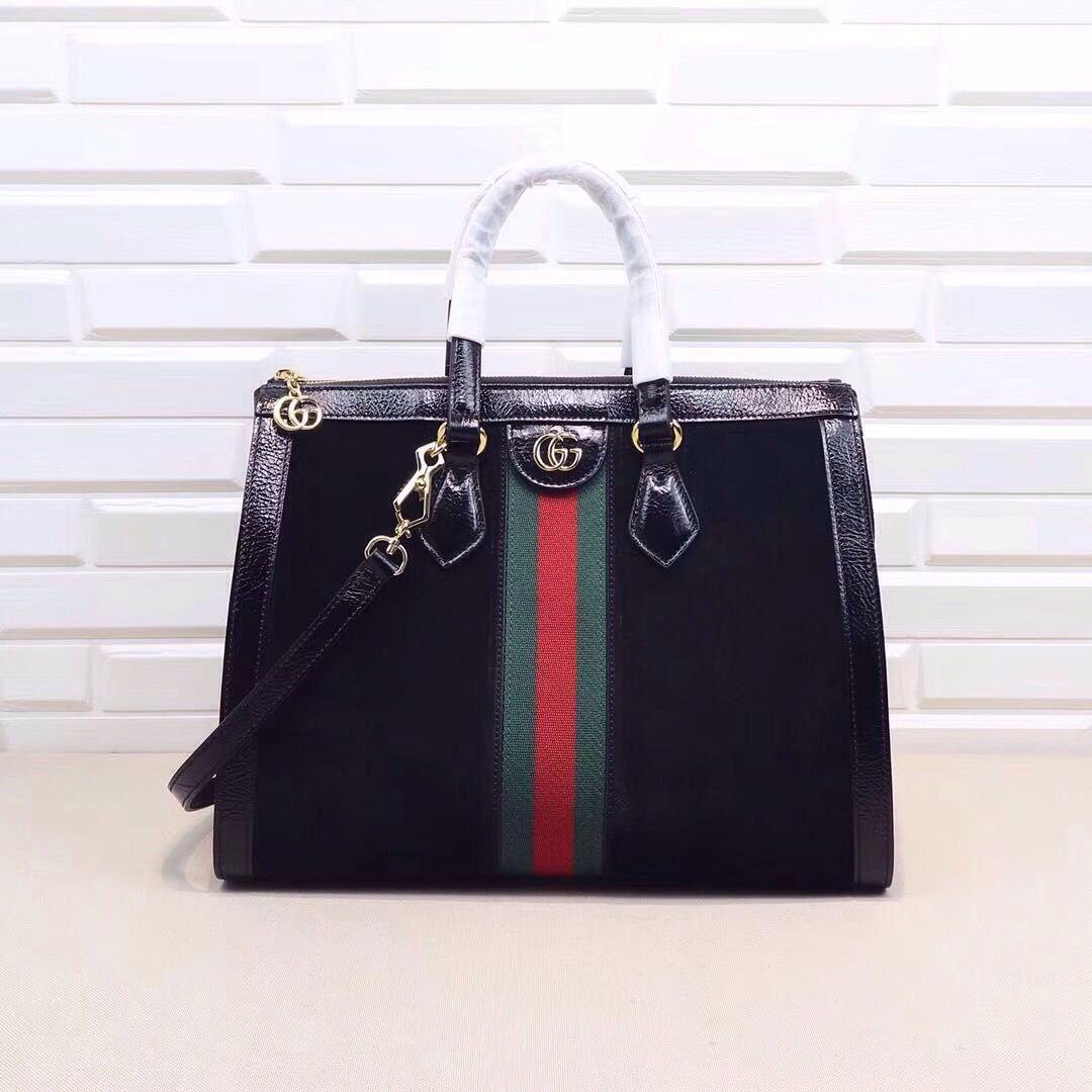 850dd34b7a3 Gucci Ophidia GG medium top handle bag black