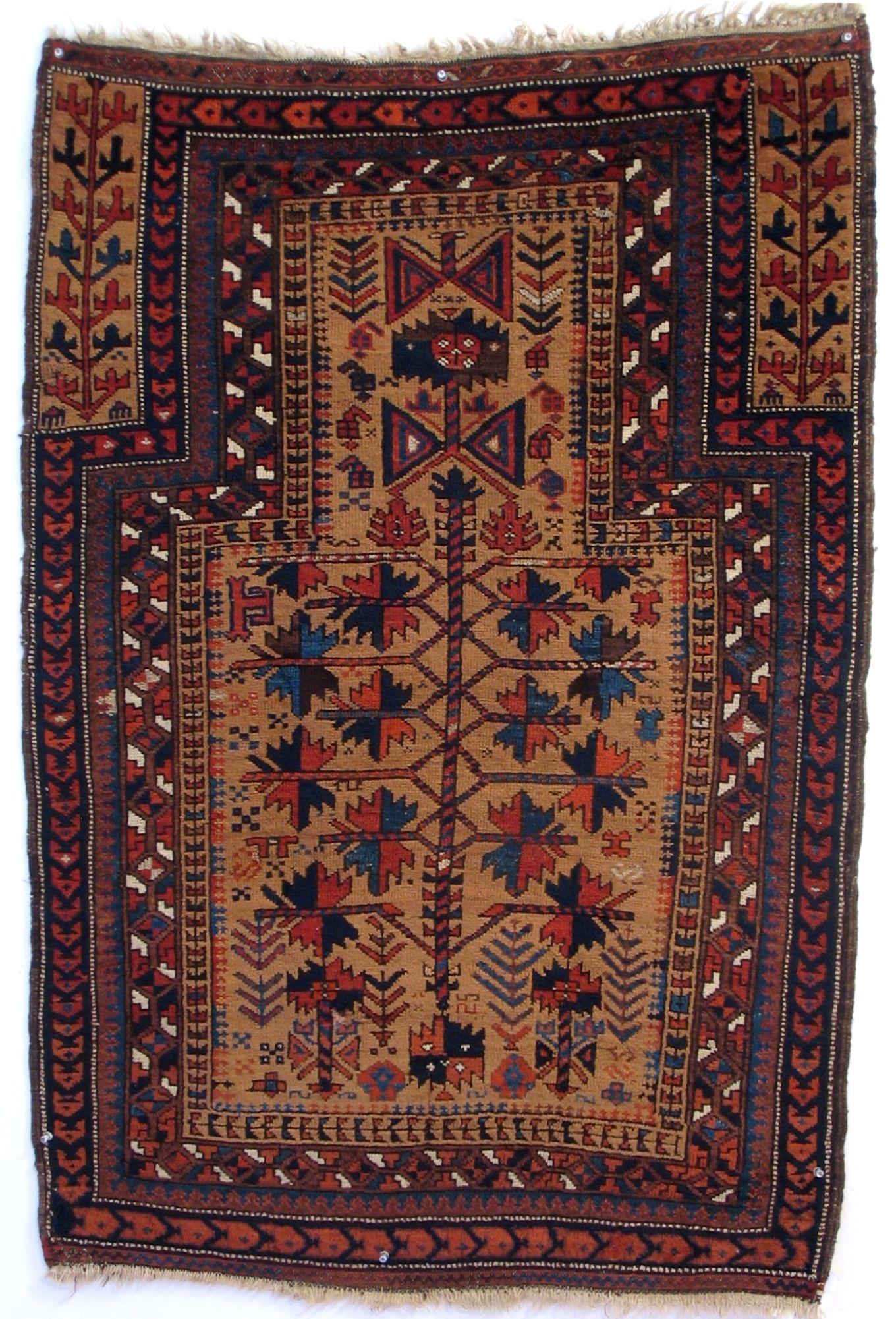 Baluch Prayer Rug Iran Khorasan 2nd Half 19th Century 2 9 X 4