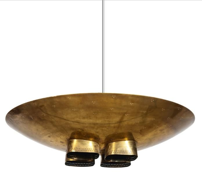 Perforated Brass Ceiling Lamp | Paavo Tynell | 1950s