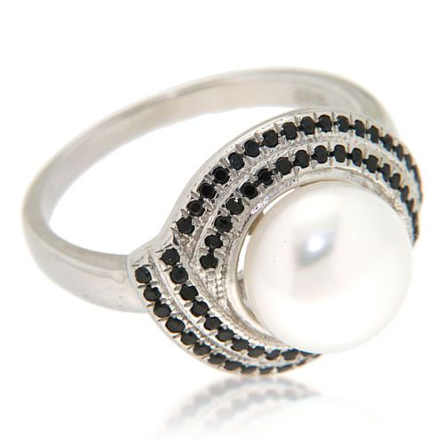 9-10-mm-Round-Cultured-Freshwater-Pearl-and-Black-Spinel-Sterling-Silver-Ring