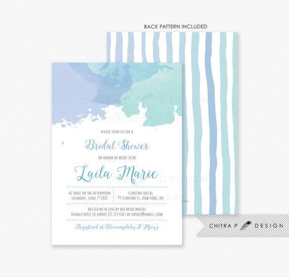 7e2ab3314969 Watercolor Bridal Shower Invitation - Printed