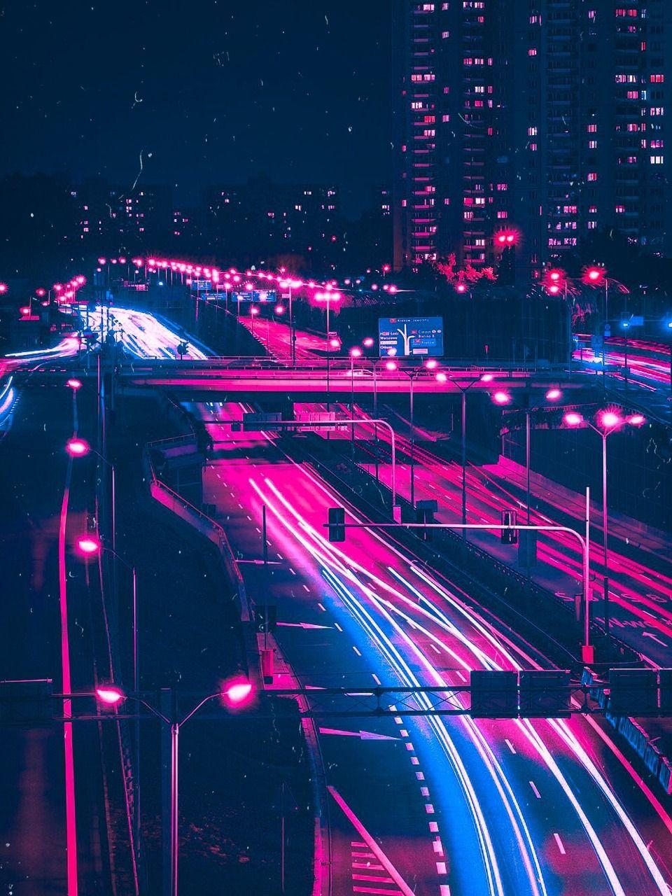 Dystopianscty — vaporwave motorway City aesthetic, Neon
