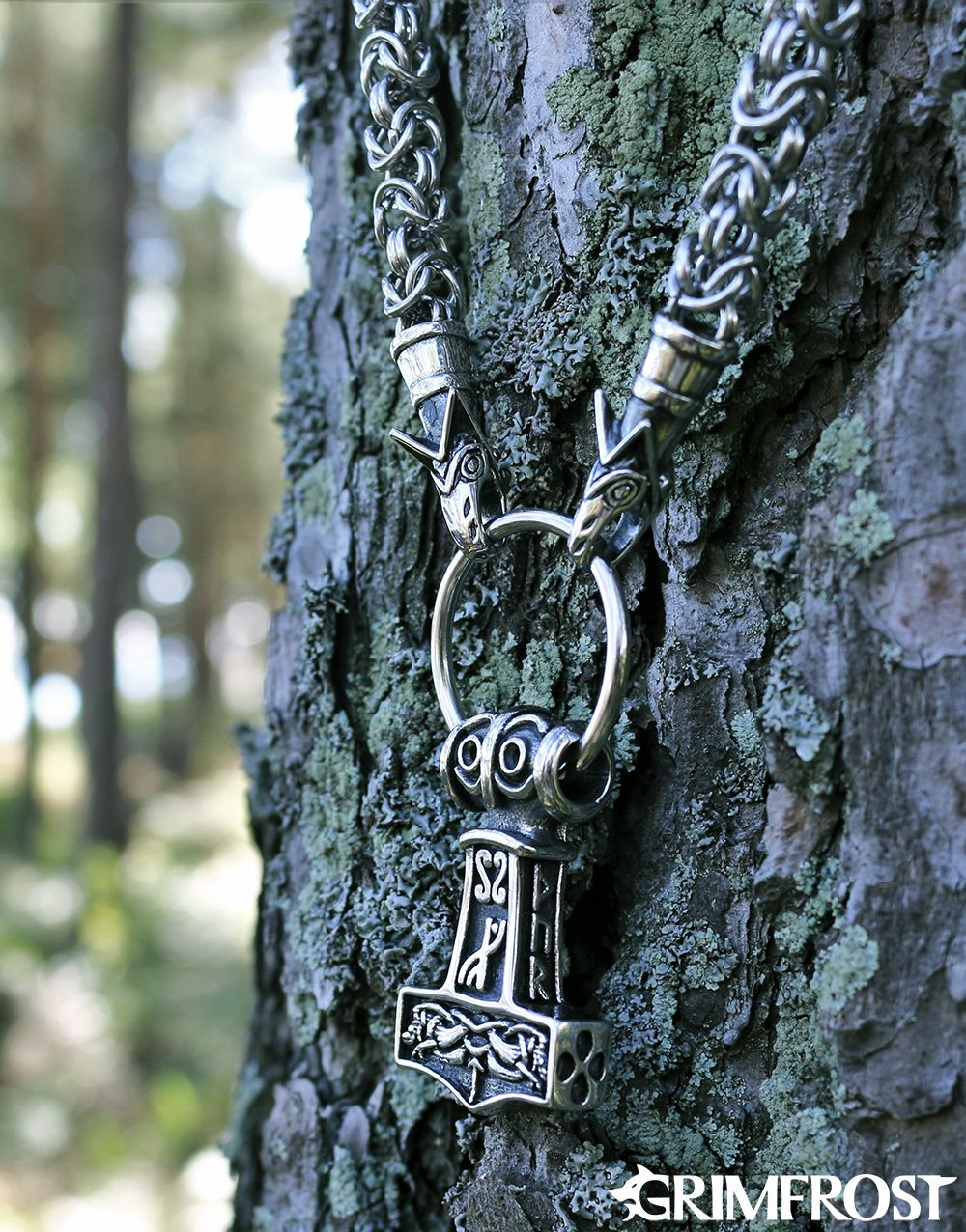 Silber 925 Thorshammer Silberanhänger Thors Hammer Wolf 2