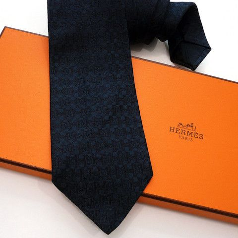 7fa9466ad698 Authentic Vintage Hermes Faconnee H and Stirrup Tie Black | Hermes ...