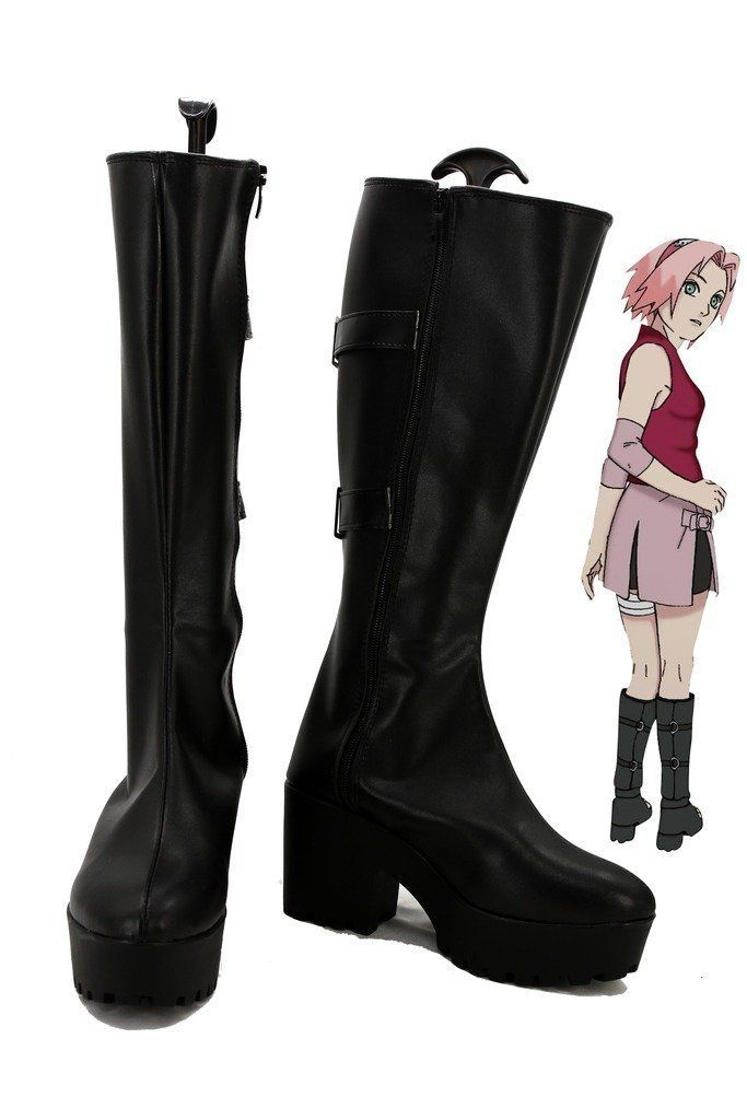 NARUTO Anime Haruno Sakura Cosplay Shoes Boots Custom Made high heel